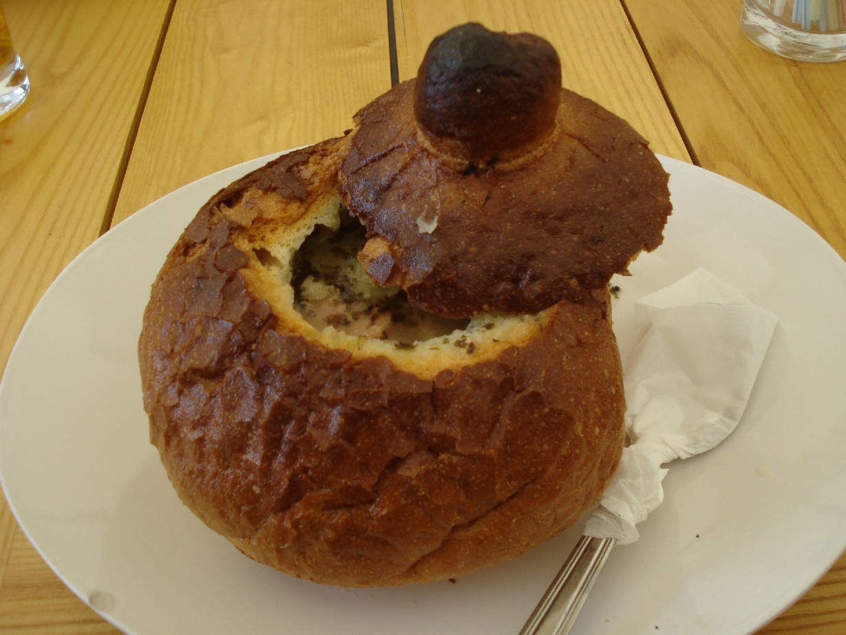 Soup in a bread bowl is typical for Torun.
