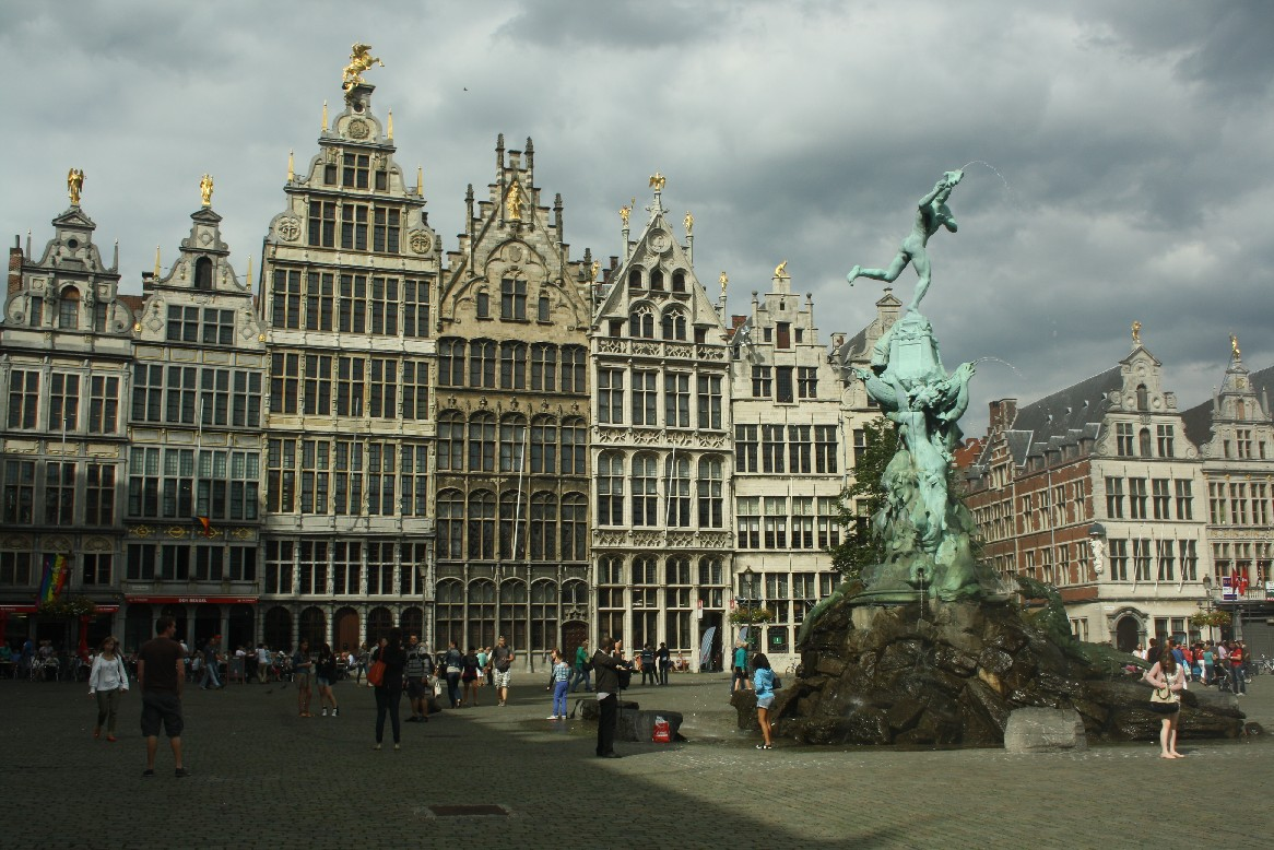 Antwerpen market square. Amazing houses, all topped with golden figures.