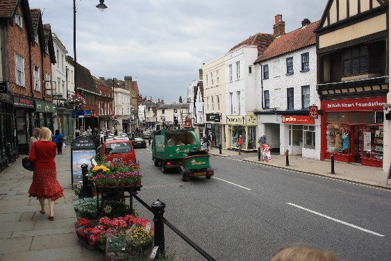 The High Street of Dorking: a lot of noisy cars passing by all the time.