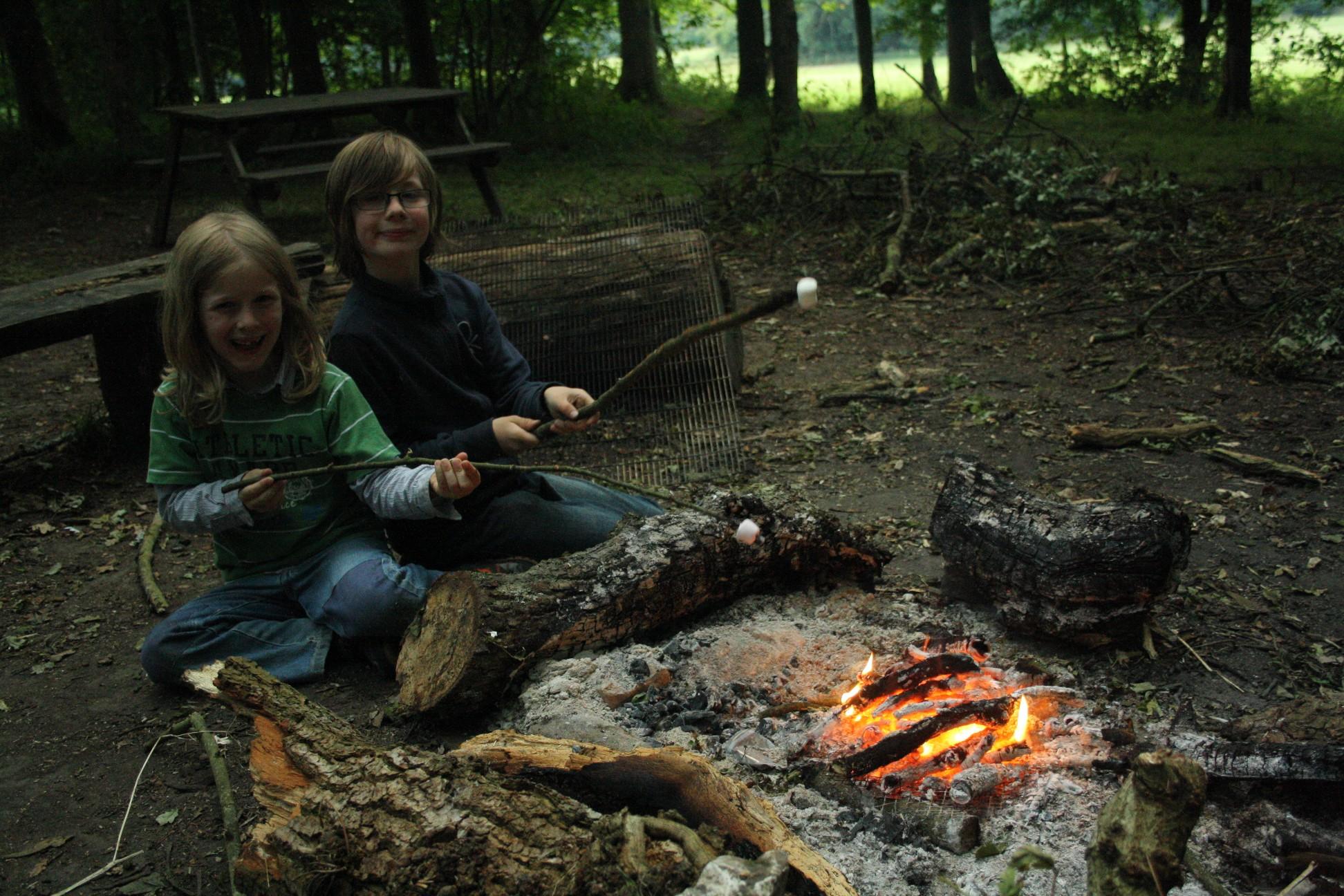 Marshmellows über dem Feuer rösten - unsere Jungs sind bescheiden.