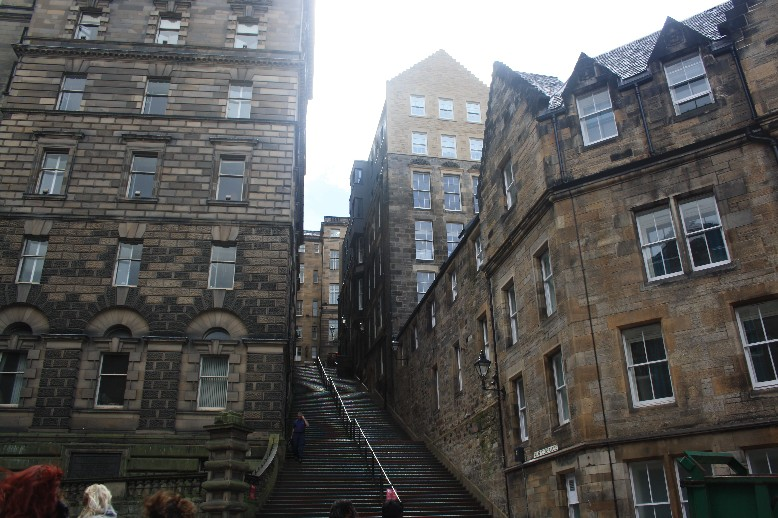 Grey and full of stairs: Edinburgh on a rainy day.