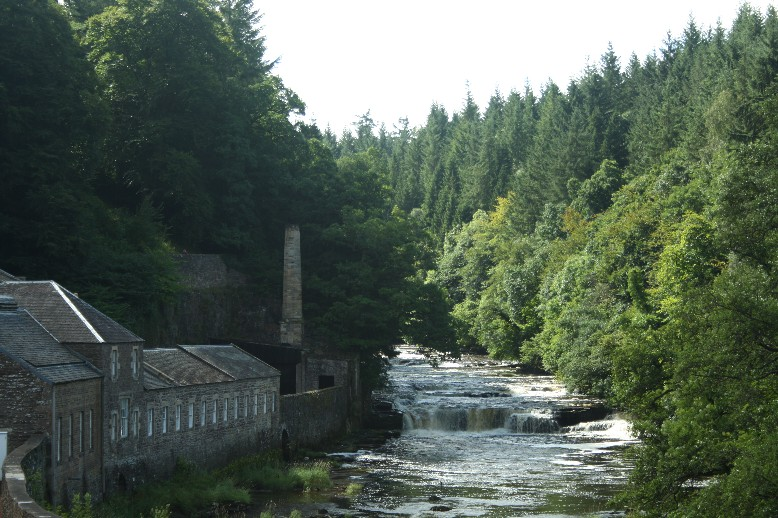 The cotton-mill of New Lanark is situated in the extremely beautiful valley of the river Clyde.