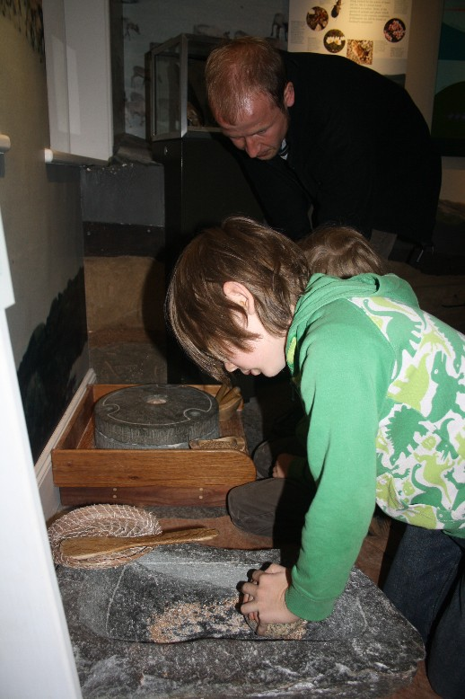 Crushing grain like people did thousands of years ago: There's lots to try out and do at Kilmartin House Museum.