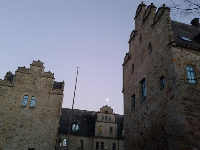 The sky and full moon above the castle of Stadthagen.