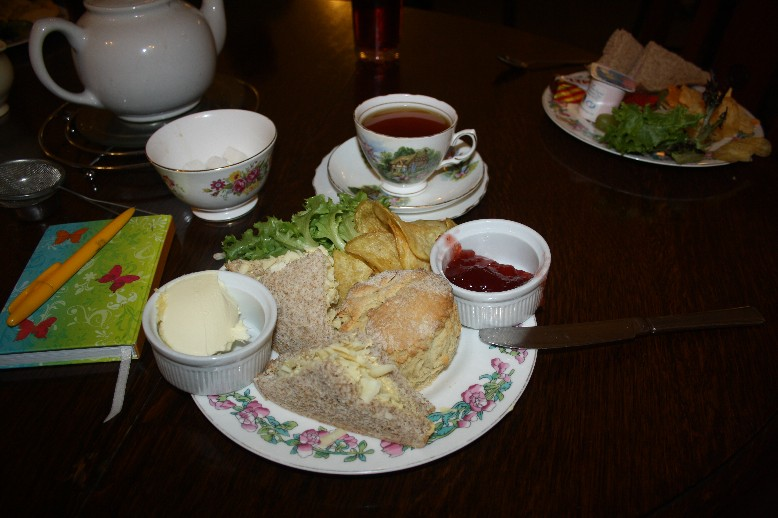 Special cream tea at the Old Barn Tea Room pretty much in the middle of the Brecon Beacons.