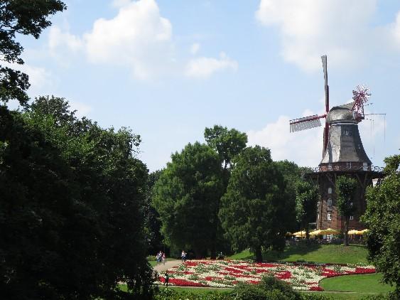 So grün und idyllisch ist Bremen mittendrin: die Herdentorswallmühle in den Wallanlagen.