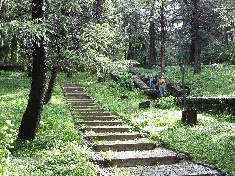 Der Aufstieg mit den Treppen führt über einen uralten Friedhof im Grünen.