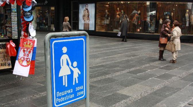 Nationalistische Souvenirs sind in der Belgrader Fußgängerzone an jeder Ecke zu haben.