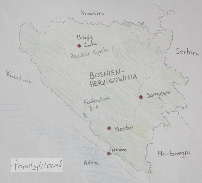 Bosnien-Herzigowina teilt sich in die muslimisch geprägte Föderation gleichen Namens und die Teilrepublik Srpska, die hauptsächlich von Serben bewohnt wird.