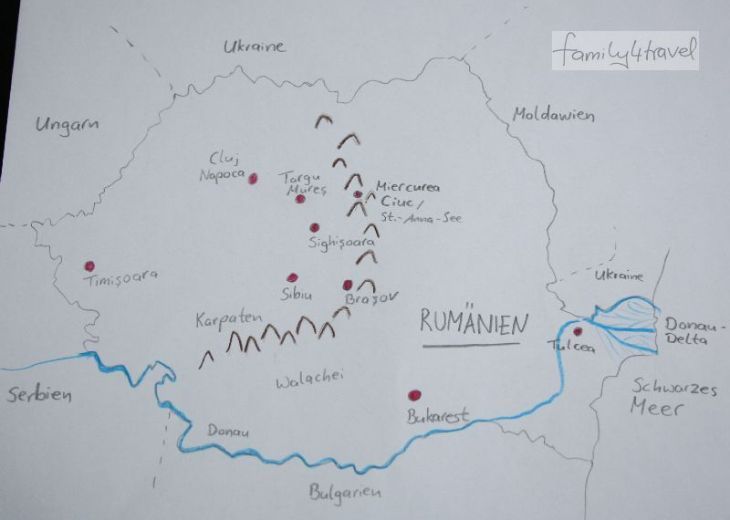 Die kleinen roten Pünktchen geben Hinweise, worüber ich noch ausführlicher schreiben will... Rumänien auf der groben Übersichtskarte.