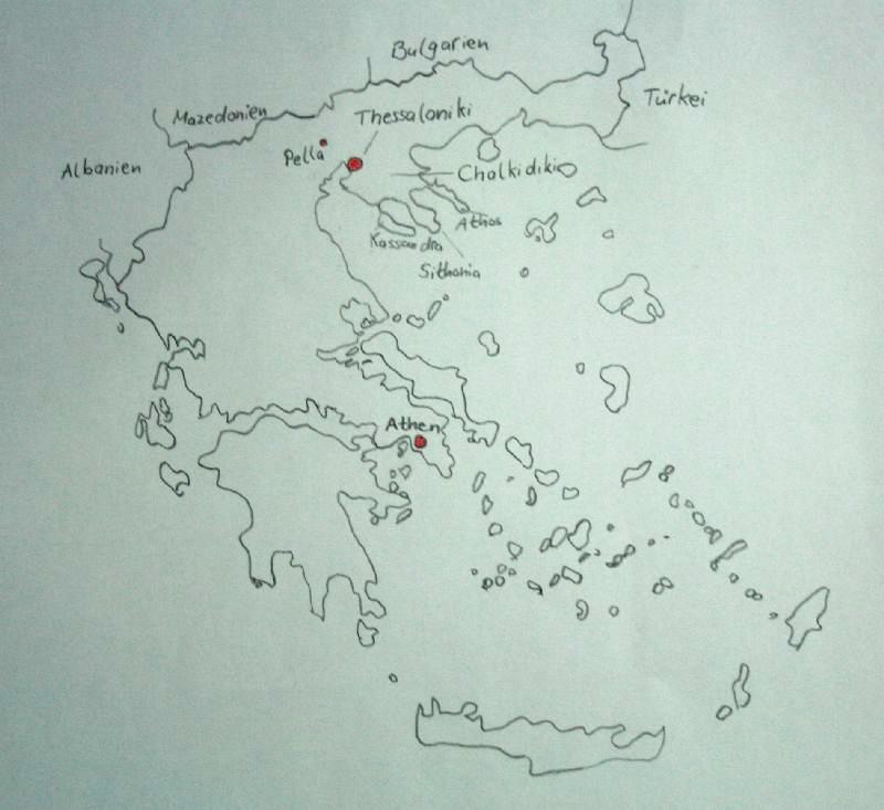 Zur groben Orientierung habe ich euch eben schnell eine Griechenland-Karte gezeichnet. Ich bin fast ein bisschen stolz auf mich. :)