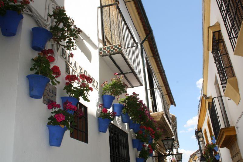 Viele Gassen Cordobas sind mit Blumen geschmückt.