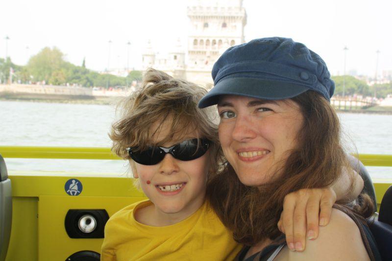 Silas und ich auf unserem Hippo Trip.