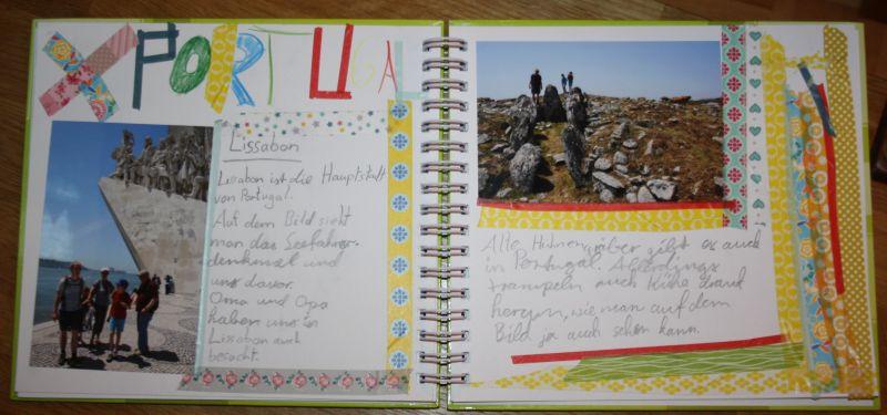 Hat eigentlich mit Weihnachten herzlich wenig zu tun, lässt sich aber wunderbar in unser Adventsritual integrieren: Die erste Seite von Janis' Reise-Album.