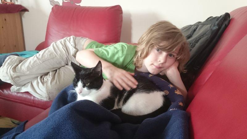 Endlich: Silas mit unserer eigenen Katze.