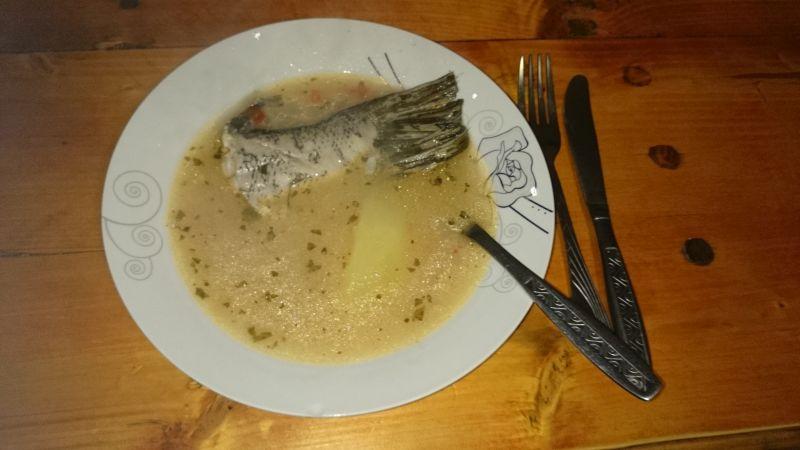 Rumänische Küche. Ernsthaft. Fischsuppe im Donaudelta.