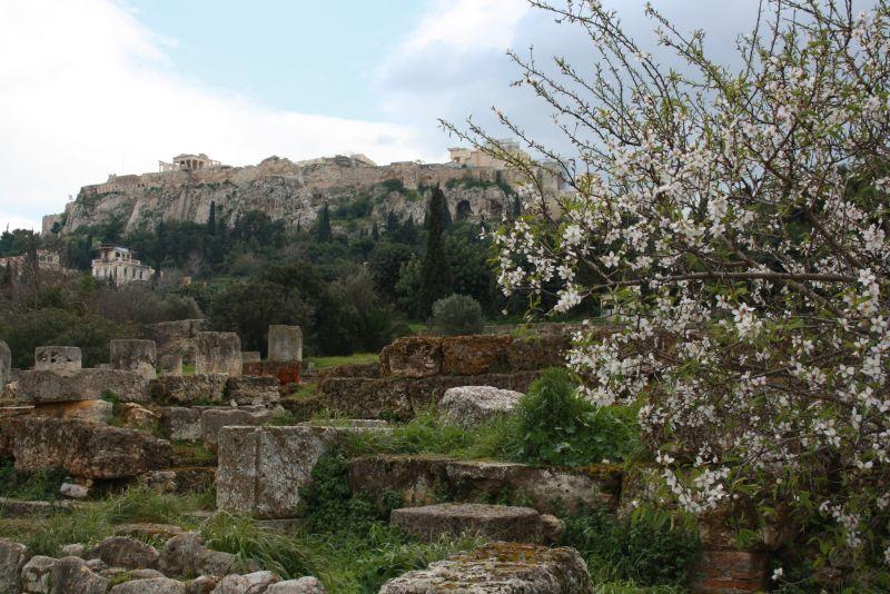 Athen: Blick auf die Akropolis von der antiken Agora aus.