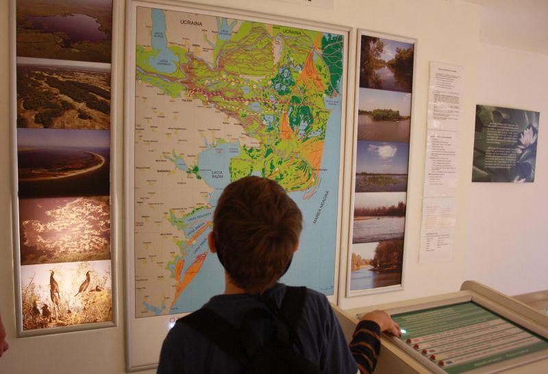 Karte vom Donaudelta im Delta-Museum Tulcea.