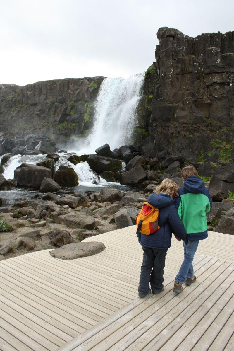 Öxararfoss, Island mit Kindern, Thingvellir.