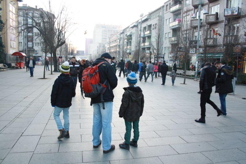 Fußgängerzone Prishtina, Kosovo