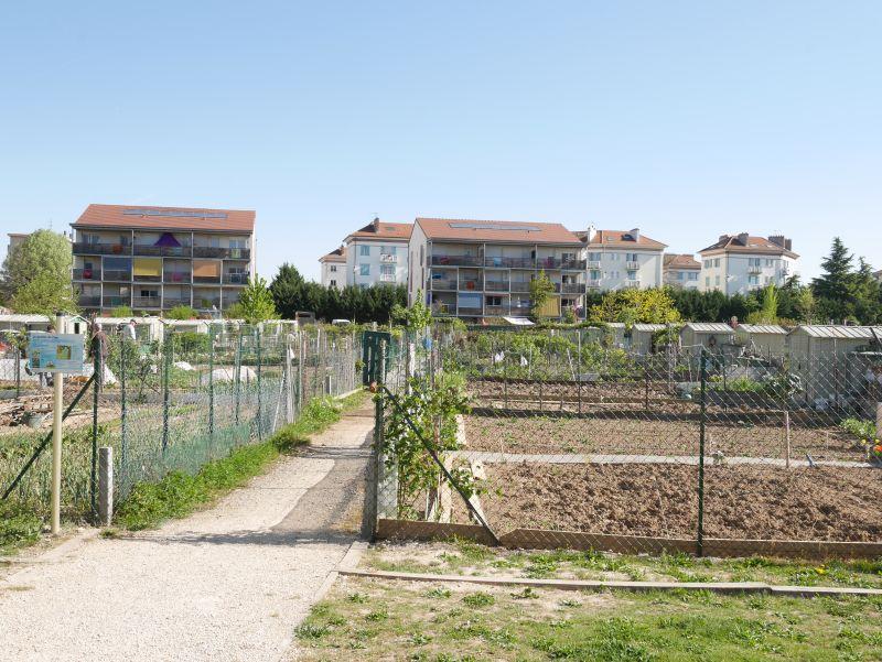 Annemasse, Frankreich, Schrebergartenkolonie.