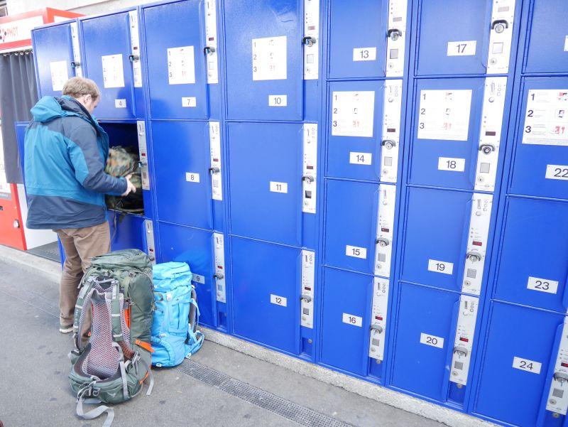 Backpacking in der Schweiz, Schließfächer am Bahnhof