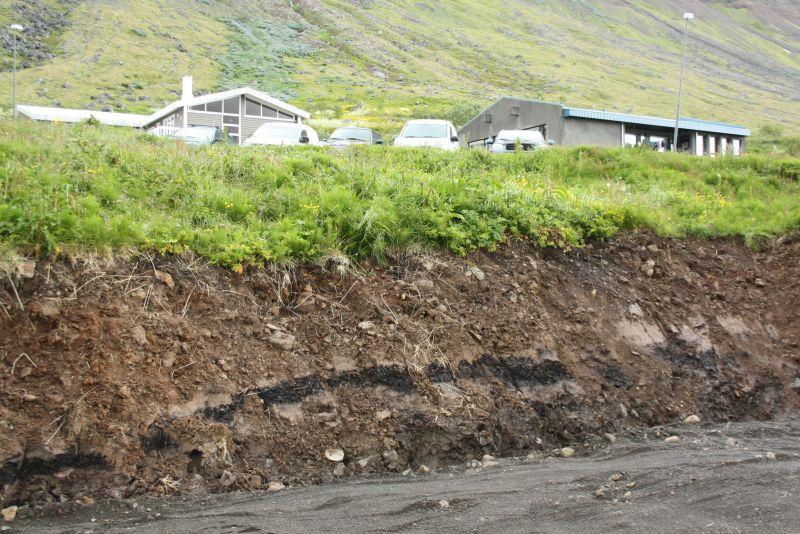 Isafjördur, Island, Ascheschicht vom Vulkanausbruch