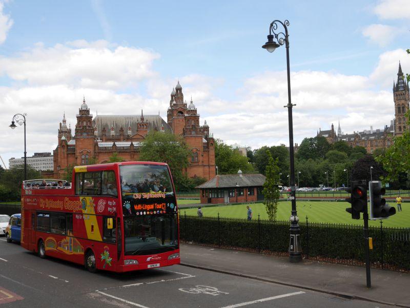 Schottland alleine mit Kindern, Glasgow Sightseeing im hop on hop off Bus