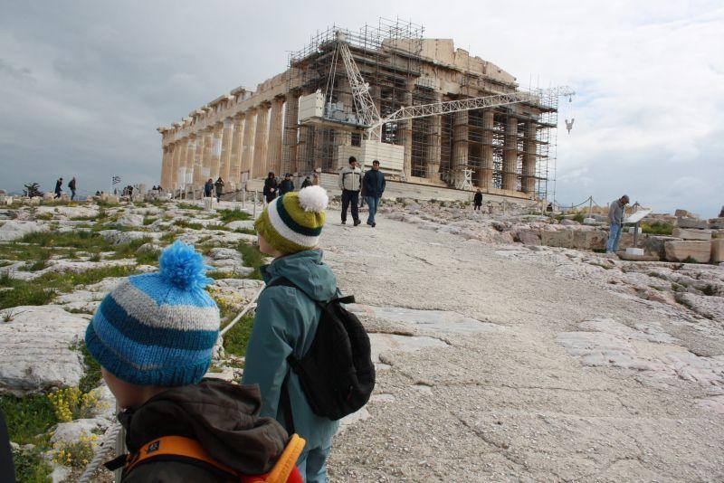 Akropolis mit Kindern im Februar, Griechenland