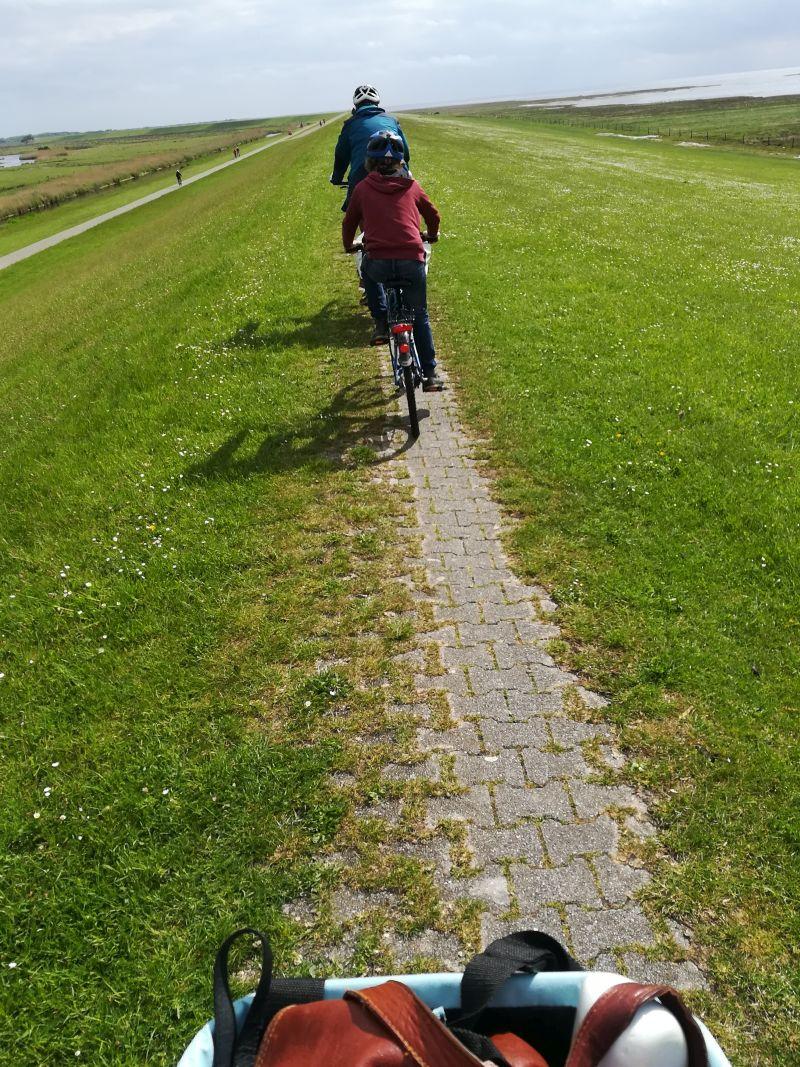 Borkum mit Kindern Deich Fahrrad