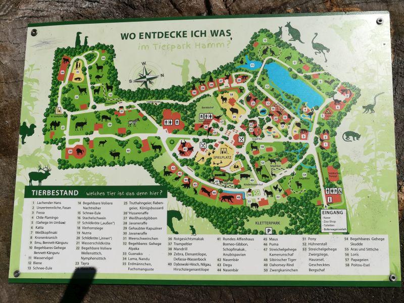 Tierpark Hamm, Geländeplan