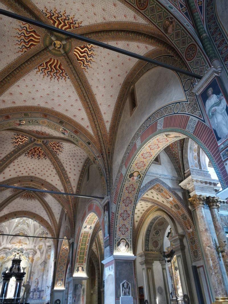 kathedrale san lorenzo deckenbemalung schwarz rot gold, lugano, tessin, schweiz