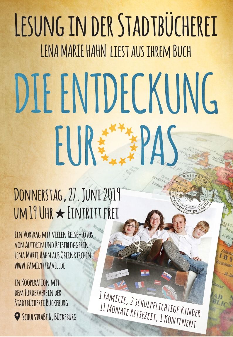 "Plakat Lesung ""Die Entdeckung Europas"", Lena Marie Hahn, Bückeburg"