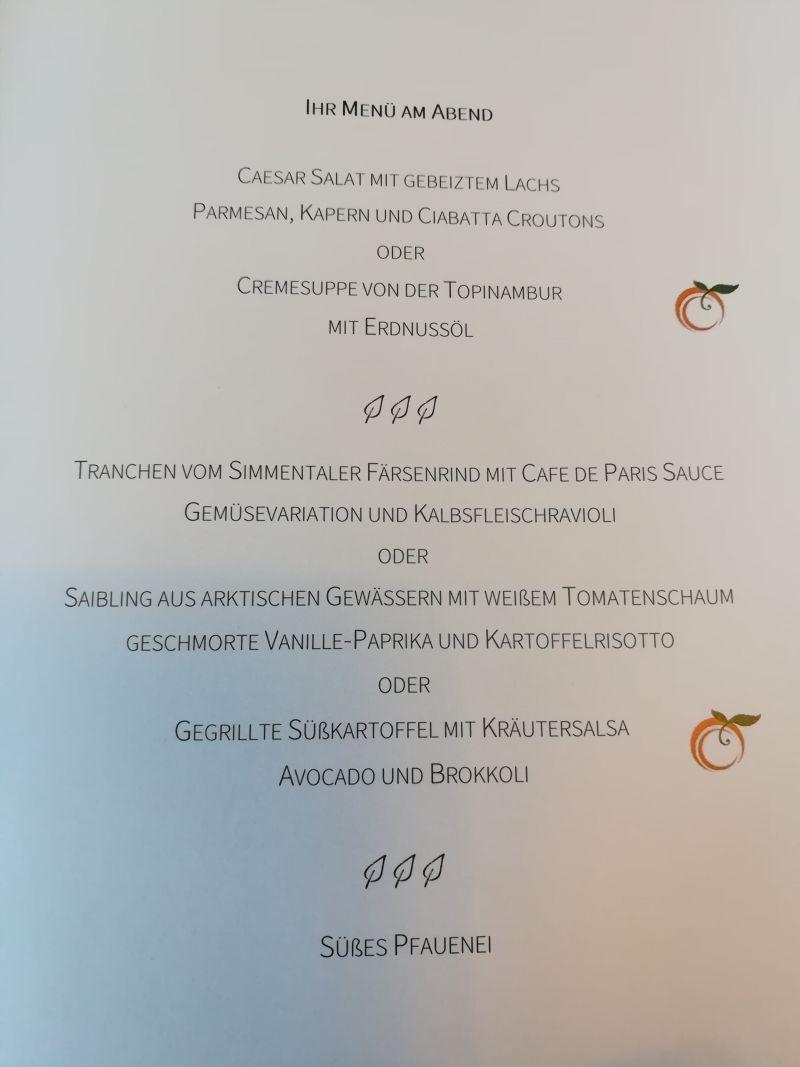 Wellness-Hotel Pfauen, Menü