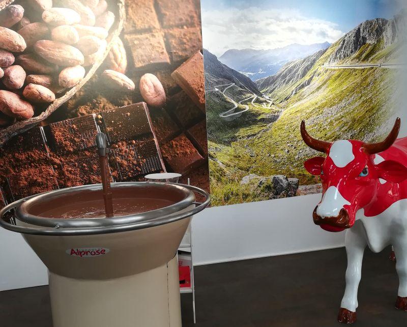 Schokoladenfabrik alprose, Caslano, Tessin, Schokoladenbrunnen